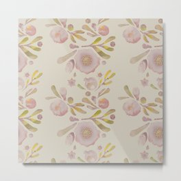 Granada Floral in Stone on grey Metal Print