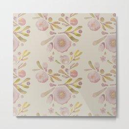 Granada Floral in Stone on grey Metal Print