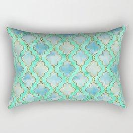 Luxury Aqua Teal Mint and Gold oriental quatrefoil pattern Rectangular Pillow