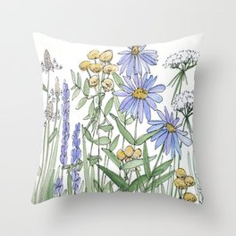 Asters and Wild Flowers Botanical Nature Floral Throw Pillow