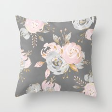 Night Rose Garden Gray Throw Pillow