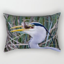 Grey Heron with fish Rectangular Pillow
