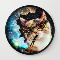 eugenia loli Wall Clocks featuring High Cat by Eugenia Loli