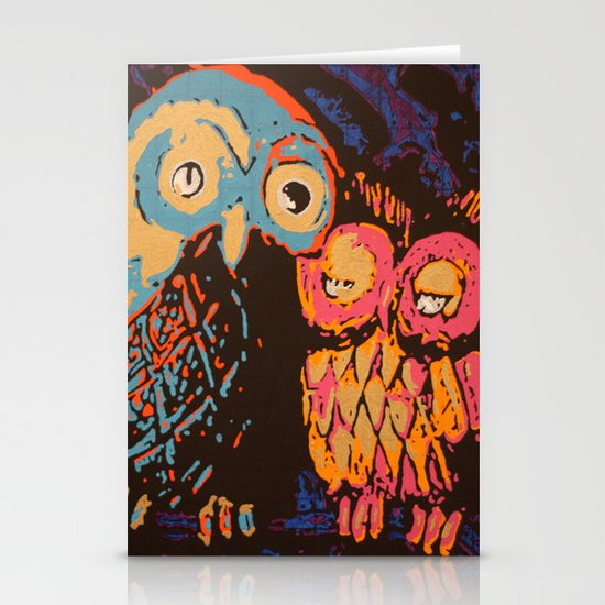 Psychedelic Owls Stationery Cards