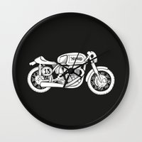 cafe racer Wall Clocks featuring Norton Model 30 - Cafe Racer series #2 by Daniel Feldt
