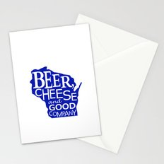 Blue and White Beer, Cheese and Good Company Wisconsin Graphic Stationery Cards