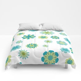 Floral Pattern in shades of green Comforters