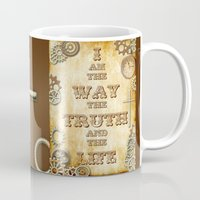 bible verse Mugs featuring Bible Verse Steampunk Way Truth Life by Whimsy and Nonsense