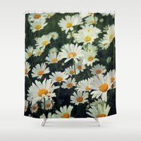 daisies Shower Curtains featuring Daisies by KunstFabrik_StaticMovement Manu Jobst