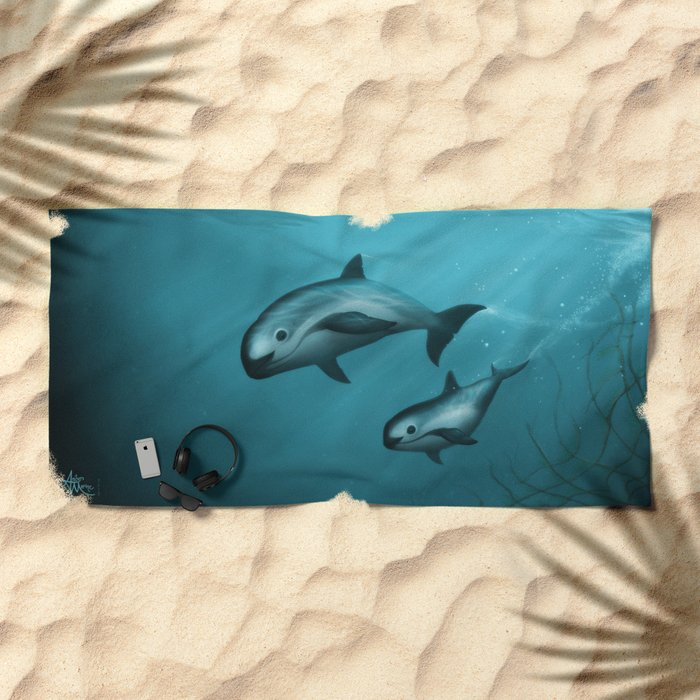 Treacherous Waters - Vaquita Porpoise Art, Original Digital Painting by Amber Marine, Copyright 2015 Beach Towel