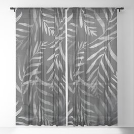 Silver Tropical Palm Leaves Ferns Trendy Black Marble Sheer Curtain