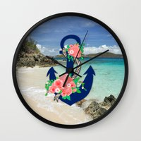 anchors Wall Clocks featuring Anchors by Bri Delasole