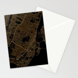Black and gold Montreal map Stationery Cards