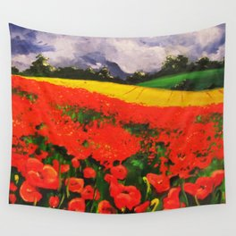 Poppies before the Storm Wall Tapestry