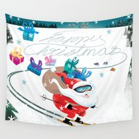 skiing Wall Tapestries featuring Santa Skiing 1 by drawgood
