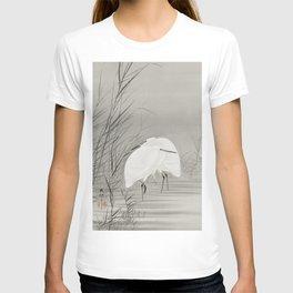 Egrets in swamp - Japanese vintage woodblock print T-shirt