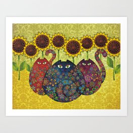 Cats & Sunflowers Art Print
