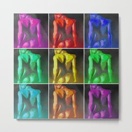 Nine Nudes Pop Art Collage Metal Print