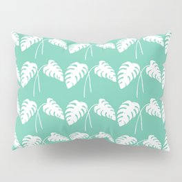 White Monstera Leaf Watercolor on Teal Pillow Sham