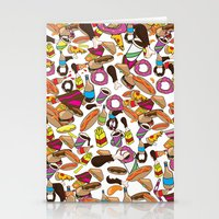 junk food Stationery Cards featuring Cartoon Junk food pattern. by Nick's Emporium