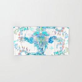 Aqua Chalcedony Luna Moth Succulent Floral Hand & Bath Towel