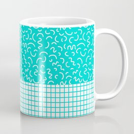 Hockney - Bright blue, memphis, 80s, 90s, swimming pool, summer turquoise design cell phone, phone  Coffee Mug