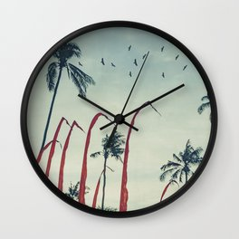 Coconut - Palms and Flags Wall Clock
