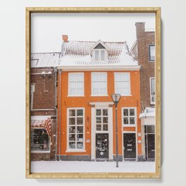 Orange Winter House in the Snow | Travel & City Photography in Hanzestad the Netherlands, Europe Serving Tray