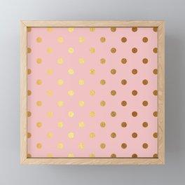 Gold polka dots on rose gold background - Luxury pink pattern Framed Mini Art Print