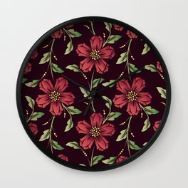 Scarlet Floral Pattern Wall Clock