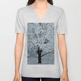 TREES WHITE ABSTRACT Unisex V-Neck