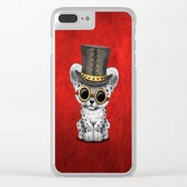 Steampunk Snow Leopard Cub Clear iPhone Case