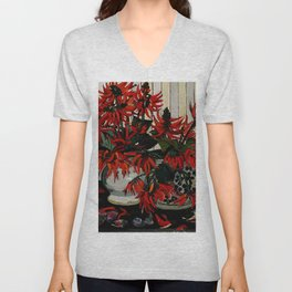 """Coral Flowers"" by Australian Artist Margaret Preston Unisex V-Neck"