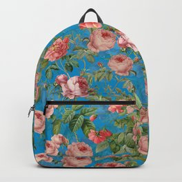 Vintage & Shabby Chic - Blush Rose Blue Garden Backpack
