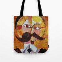 nietzsche Tote Bags featuring Friedrich Nietzsche by Renee Bolinger