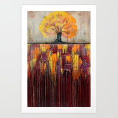 Tree in Autumn Landscape - Abstract Landscape Painting Art Print
