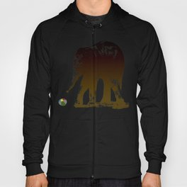 Cute Baby elephant calf playing with a ball design Hoody