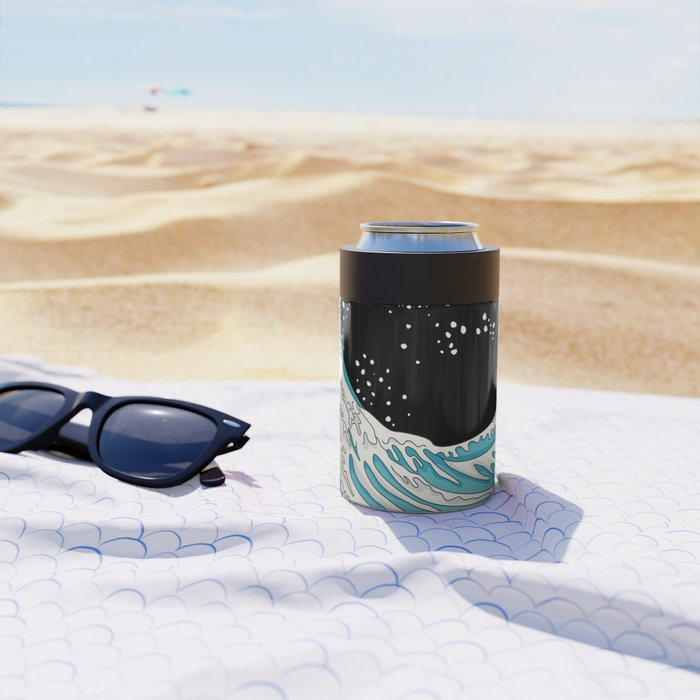 The Great Wave (night version) Can Cooler