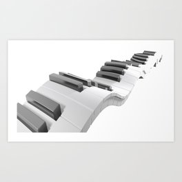 Keyboard of a piano waving on white background - 3D rendering Art Print