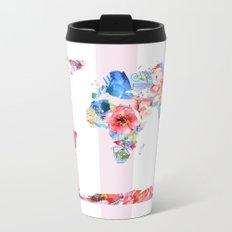 Floral World - Pink Stripe Metal Travel Mug