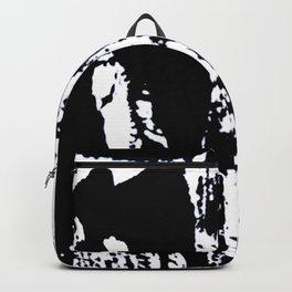 Blank: a minimal black and white linoprint Backpack