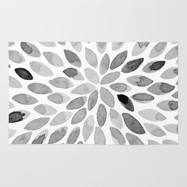 Watercolor brush strokes - black and white Rug