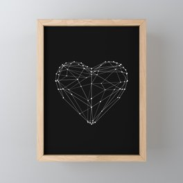 Polygon Love Heart modern black and white minimalist home room wall decor canvas Framed Mini Art Print