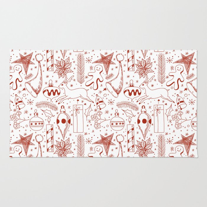 Doodle Christmas pattern Rug