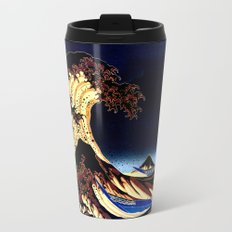 The GREAT Wave Midnight Blue Brown Metal Travel Mug