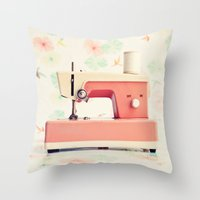 sewing Throw Pillows featuring Sewing Machine by Caroline Mint