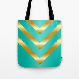 Gold strips on royal green gradient Tote Bag