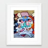 grafitti Framed Art Prints featuring Grafitti Clown by Valann