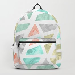 Modern geometrical abstract marble triangles pattern Backpack