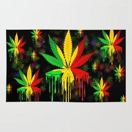 Marijuana Leaf Rasta Colors Dripping Paint Rug